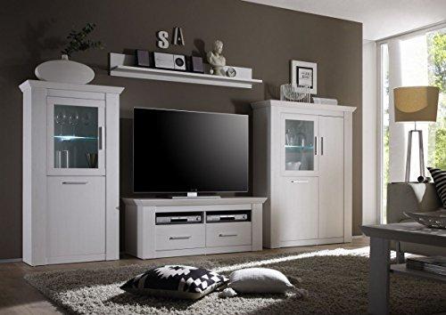 Dreams4Home Wohnwand 'Ruma II' – Set, Glasvitrine, TV-Lowboard, Highboard, Wandregal, Medienwand, Phono Möbel, Wohnkombination, Wohnwand, modern, LED-Beleuchtung, Anbauwand, Wohnzimmer, B/H/T: 330 x 180 x 35 – 45 cm, Pinie weiß Nachbildung, Beleuchtung:mit Beleuchtung - 2