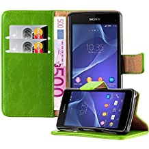 Cadorabo - Funda Estilo Book Lujo para Sony Xperia Z1 COMPACT / MINI con Tarjetero y Función de Suporte - Etui Case Cover Carcasa Caja Protección en VERDE-HIERBA