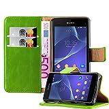 Cadorabo Hülle für Sony Xperia Z1 COMPACT - Hülle in Gras GRÜN – Handyhülle im Luxury Design mit Kartenfach und Standfunktion - Case Cover Schutzhülle Etui Tasche Book