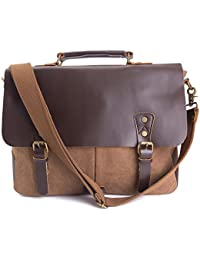 8c8fbb28419a WalkingToSky 15.6 Inch Canvas Laptop Bag, Men's Vintage Leather Casual  Leisure Shoulder Bag School Satchel