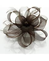 Ladies Coffee Brown Round Mesh Feather Knotted Loops Fascinator KCMODE