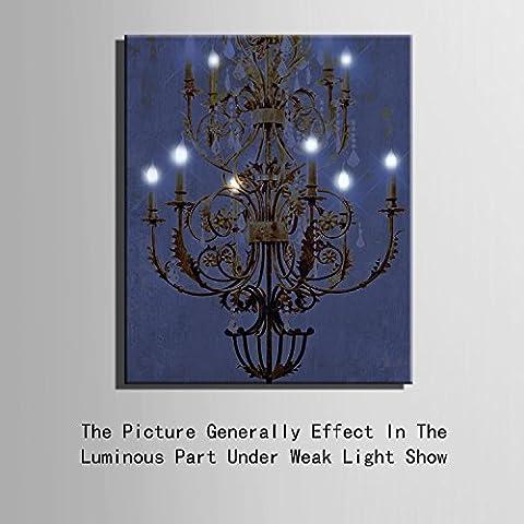 Modylee lampadario in stile europeo, LED a fibre ottiche pittura decorativa camera da letto cornice (Lampadario Decorativo Hardware Kit)