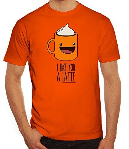 Geschenkidee Herren T-Shirt mit I Like You A Latte Motiv von ShirtStreet Orange