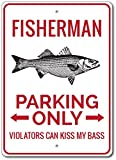 The Lizton Sign Shop Fisherman Parkschild, Fisherman Decor, Fischer, Fisch Lover Geschenk, Angeln, Fisch Man Cave Schild, Aluminium, 2 12