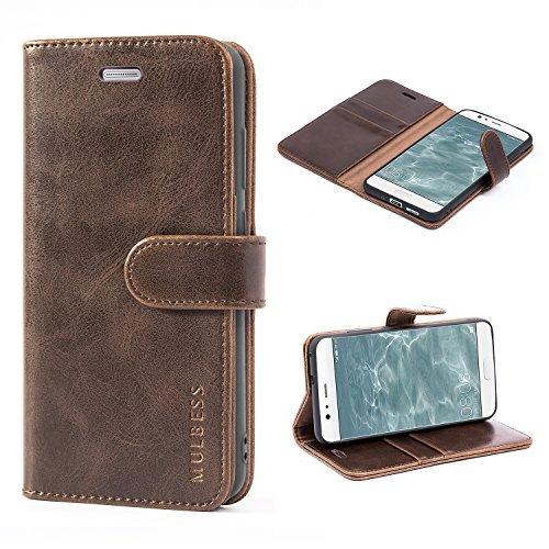 Mulbess Handyhülle für Huawei P10 Lite Hülle, Leder Flip Case Schutzhülle für Huawei P10 Lite Tasche, Vintage Braun