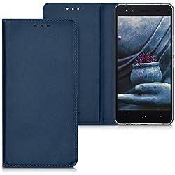 kwmobile Funda para bq Aquaris X5 - Carcasa para móvil de [Cuero sintético] - Case [Plegable] en [Azul Oscuro]