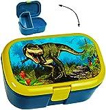 alles-meine.de GmbH Lunchbox / Brotdose -  Dinosaurier - Dino T-Rex  - mit extra Einsatz / Herausnehmbaren Fach - Brotbüchse Küche Essen - für Mädchen & Jungen - Tyrannosaurus ..