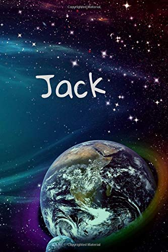 Jack: Personalised Space Cover Notebook | 160 Ruled Pages | 6x9 Journal | Paperback Diary | Glossy Finish 160 Jack