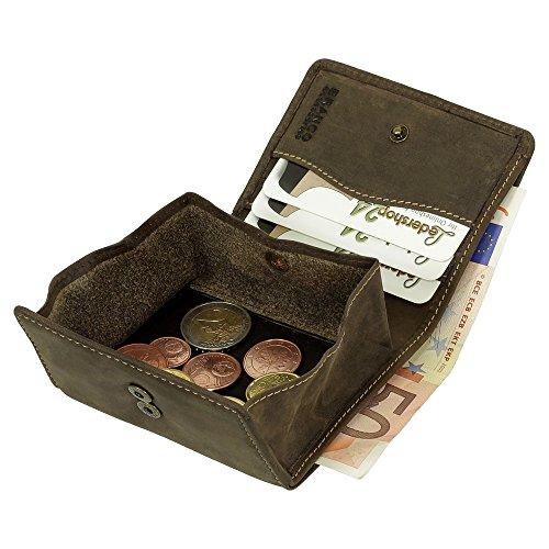 Sportliche Leder Herren Geldbörse Wiener Schachtel Geldbeutel Portemonnaie braun