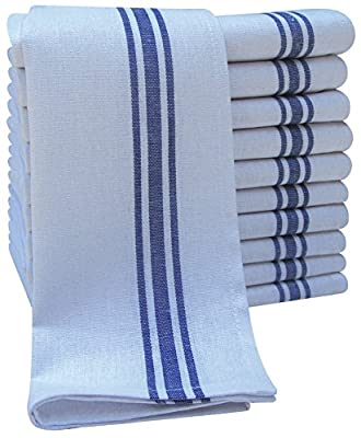 Pack of 10 Large Cotton Catering Tea Towels, Restaurant Kitchen Glass Cloths