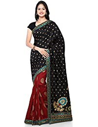 Kvsfab Women's Silk Party Wear Half N Half Saree,Black & Maroon