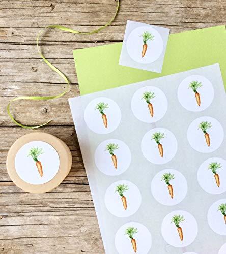 Karotte Sticker A4 Bogen, 15 Stk. ca.5 cm Durchmesser, Möhre Aufkleber, selbstklebende runde Etiketten mit Karottenmotiv, Ostern Geschenk Verpackung