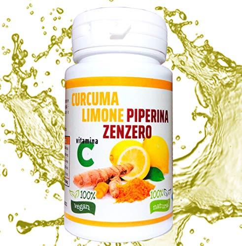 curcuma+piperina+limone+zenzero+vitamina c   130 compresse naturali di puro estratto di curcuma   brucia grassi   antinfiammatorio   antidolorifico   antiossidante