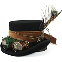 FengHe Moda Moda Apuesto Sombrerero Loco Sombrero de Pirata Sombrero de Copa con Gafas Steampunk Sombrero