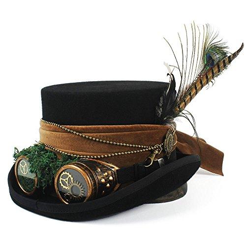M.J.ZUR Wmens Hutmacher Hut Piratenhut Zylinder mit Brille Steampunk Steampunk Zylinder (Farbe : Schwarz, Größe : 55 (Slash Kostüm Frauen)