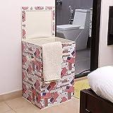 Kurtzy Cotton 60L Foldable Laundry Basket, Multicolour