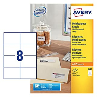 Avery 3427 self-adhesive Multipurpose/copier Labels, 8 labels per A4 Sheet
