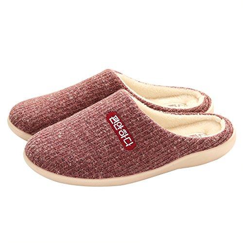 Fankou Home uomini e donne pantofole di cotone a strisce larghe paio di spessore home a casa anti-slittamento pantofole caldi Rauhes Haar grün