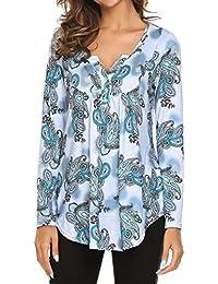 Hevoiok Langarmshirt Damen Fashion Sexy Blumen V-Ausschnitt Top T-Shirt  Blusentop Fraun Lange Ärmel… 2dd3b39627