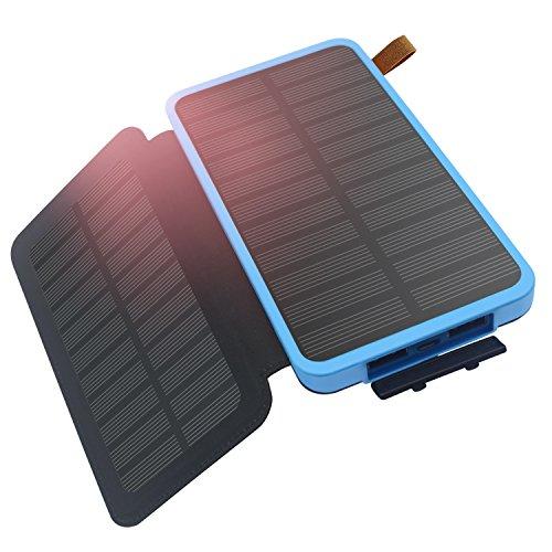 Caricabatterie Solare Hiluckey 8600 mAh Solare Power Bank Due pannello solare Due Porte USB Portatile impermeabile Batteria Esterna LED Latorcia per iPhone, iPad, Galaxy, HUAWEI,Bluetooth.ecc