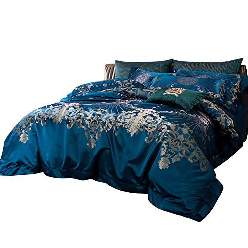 JYTT Blue Luxus Jacquard 4-teilig Bettzeug, Faux Seide Schlafzimmer Bettdecken Allergiker Weiches Gemütlich Bettwäsche-Sets tröster-A King -