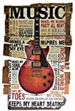 Musik Keeps my Heart Beating Gitarre schild aus blech, metal sign, tin