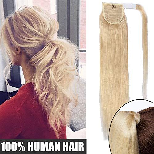 Extension coda capelli veri clip in coda di cavallo 40cm ponytail fascia unica 80g 100% remy human hair lisci umani naturali #613 biondo chiarissimo