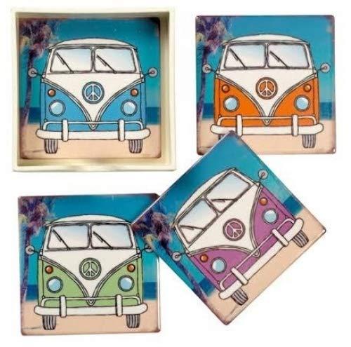 Lot de 4 dessous de verre style vintage VW Camper Van en céramique dans une boîte de présentation – Split Écran Bus sur la plage