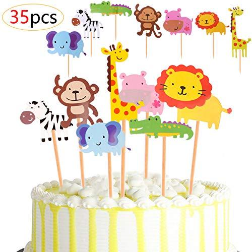 Airrioal Zoo Kuchendeckel Topper 35 Stück, Dschungel-Themed Tier Cupcake Toppers für Kinder Baby Shower Party Geburtstag Party Kuchen Dekoration Supplies Nilpferd Elefant Giraffe Zebra Krokodil