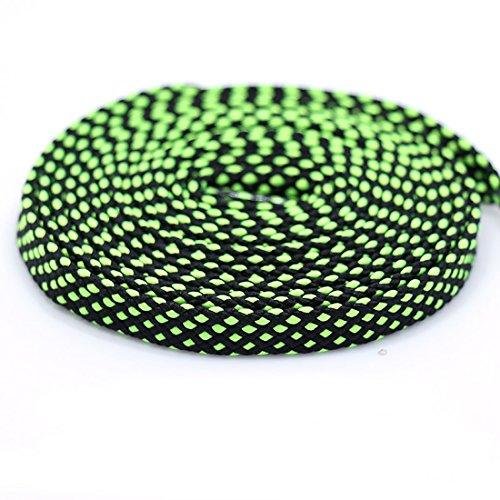 enkel Zweifarbig Doppelte strukturierte flache Spitze Sportschuhe Schnürsenkel Schwarz und Grün 55.1
