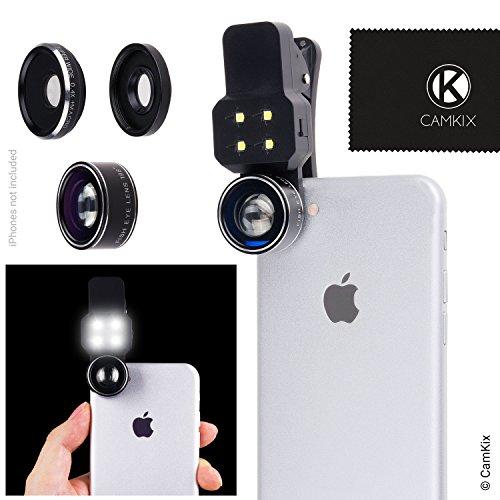 Objektivset mit LED-Licht für Mobiltelefon/Tablet - Universell - Fischauge, Weitwinkel- und Makroobjektiv - Erstaunliches Upgrade für Apple iPhone, Samsung Galaxy und viele mehr (nicht geeignet für iPhone 7 Plus)