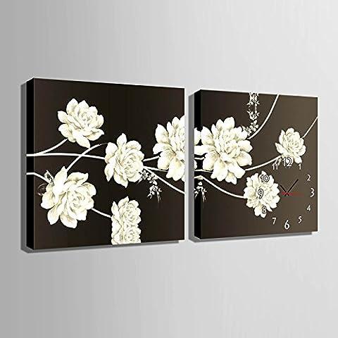 ZRF-Uhr-Malerei Weiße Blüten, dekorative Wand Uhr Schlafzimmer Wohnzimmer Esszimmer Kinderzimmer