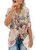 GOSOPIN Frauen Bluse Hippi Tiefer V-Ausschnitt für mollige T-Shirt mit Knoten Vorne Basic Streetwear XL