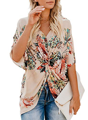 DOKOTOO Womens Tops Boho Fashion Tops Basic Spring Amazon Twist Front Loose Casual Batwing Sleeve Floral Print Shirts Blouse Apricot Size 14 16