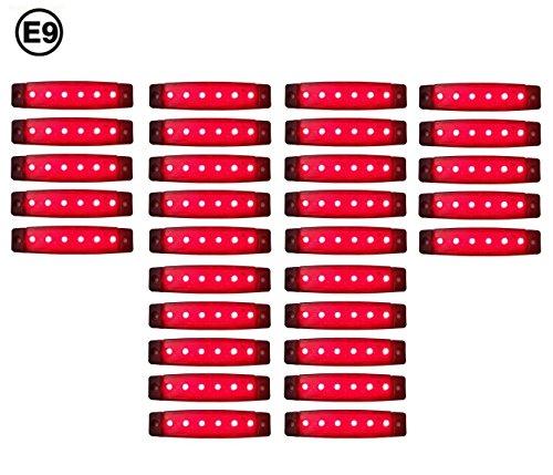 30 x LED 24V ROT BEGRENZUNGSLEUCHTE POSITIONSLEUCHTE SEITENMARKIERUNGSLEUCHTE LKW