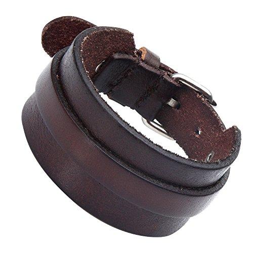 Atemberaubende verstellbar Dunkelbraun Manschette Leder Armband für Männer (Metall Schnalle Schließe) (Hardware Leder Silber)