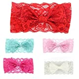 #10: Okayji Gilrs Lace Hairband Headband Baby Headwrap Knotted Bowknot Hair Tool, 5- Pieces