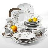 'Nikita' Veweet Servizio da tavola in porcellana 30 pezzi servizio combinato tazze da caffè 175ml, piattino, piatti da dessert, piatti da portata e piatti a base di zuppa per 6 persone