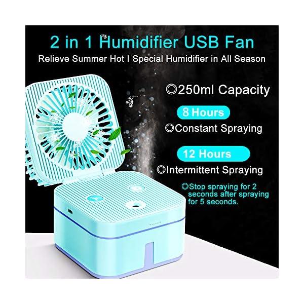 HOUSEGAGA-Mini-Ventilador-USB-con-Rociador-de-Agua-Ventiladores-de-Mano-USB-Ventilador-Porttil-Ventilador-con-3-Velocidades-2-Modos-de-Rociado-LED-Ligero-para-OficinaHogarViajar-Azul
