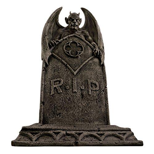 Design Toscano Der Vampirdämon Halloween Grabstein Gothic-Deko Friedhofsstatue, Polyresin, steingrau, 56 ()