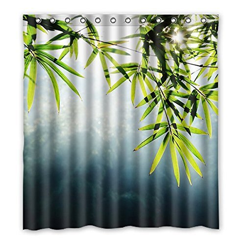 Grün Fresh Bamboo Leaves Muster Design Polyester Stoff wasserdicht Duschvorhang Badezimmer Deko 167,6x 182,9cm (167cm x 183cm), Polyester, A, 168 x 183 cm