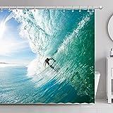 FamyFirst Tenda da Doccia Impermeabile Antimuffa Spessa Stampa ad Alta Definizione 180x180cm Surf Picco Mare Oceano