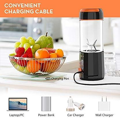 Slow-Juicer-LOZAYI-Smoothie-Maker-Mixer-mit-6-Edelstahlmesser-Entsafter-mit-4000mAh-Batterie-USB-Wiederaufladbar-und-480ML-Kapazitt-Geeignet-fr-Familien-Camping-und-Sportarten