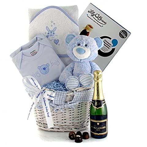 New Parent Gifts for Baby Boy - New Baby Boy Celebration Hamper with Champagne and Chocolates for Next Day Delivery - Blue Baby Boy Teddy and Clothing