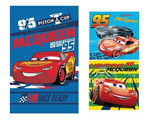 DisneyCars - Lightning McQueen - Cars Handtuch Set (3er Pack) : Cars 1 x Gesichtstuch, 2 x Handtuch/Waschlappen Geschenk für Jungen (Cars 04)