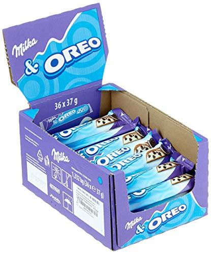 Milka Schokoriegel Milka & Oreo - Riegel mit Oreo Keksstückchen in Milchcrème - Thekendisplay - 36 Riegel à 37g