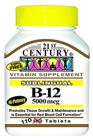 21st Century B-12 5000 Mcg Sublingual Tablets, 110-count