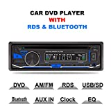 Estéreo para el coche 1 DIN 12 V con reproductor de CD, DVD, Bluetooth, MP3, USB, SD, TF, AUX, radio FM/AM y RDS con mando a distancia de Lling (TM)