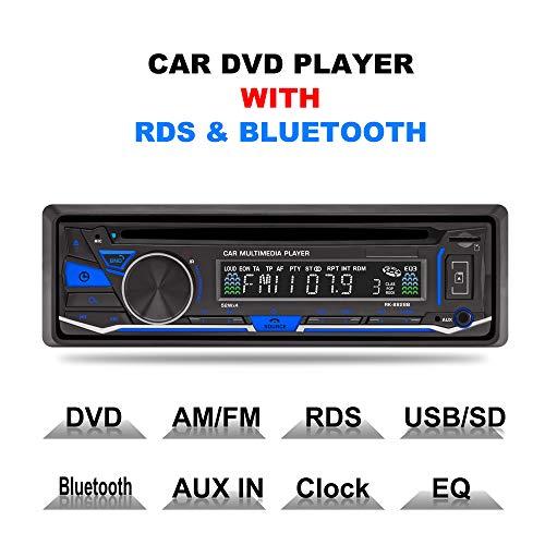 Lling(TM) autoradio stereo 1DIN, 12V, lettore DVD / CD / radio Bluetooth MP3 / USB / SD / TF / AUX / FM / AM / RDS con telecomando