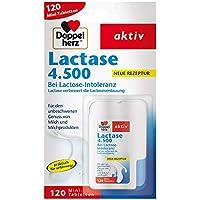 Doppelherz Lactase 4.500 – Nahrungsergänzungsmittel bei Laktoseintoleranz im praktischen Klickspender – 1 x 120 Tabletten
